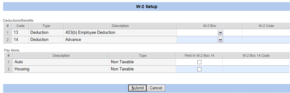 Psa Payroll W 2 Setup Deductionbenefits For Boxes 10 11 12 And