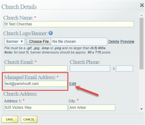 Olg Administration Manage Church How To Change The Email For